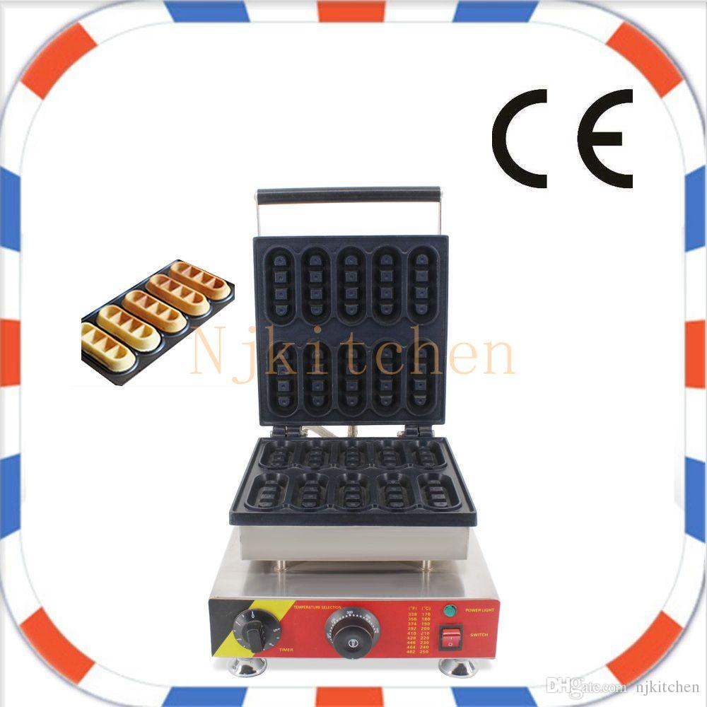 Livraison Gratuite Utilisation Commerciale 220 V 110 V Électrique 10 pcs Mini Belge Gaufre Doigtier Machine Machine Fer Moule Plaque