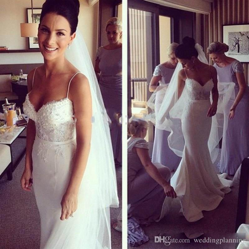 Elegant Berta Vintage Beach Wedding Dresses 2017 Mermaid Sheer Lace Sexy Plus Size Beaded Court Train Riki Dalal Country Bridal Gowns