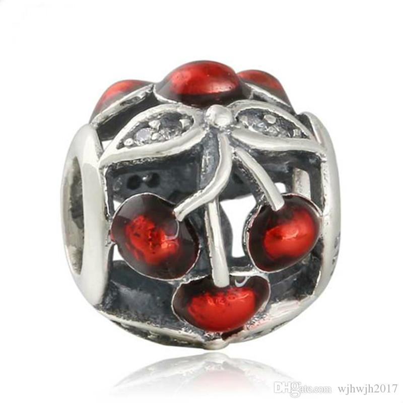 Fits Women Bracelet DIY Red Enamel Sweet Cherries Charms 925 Sterling Silver CZ Flower Beads For Jewelry Making 2017 Summer Jewelry HB641