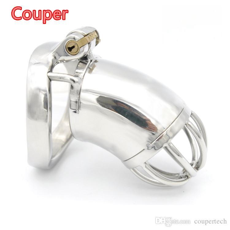 Couper, 새로운 남성 순결 장치 Peels 잠금 아크 모양의 수탉 반지 BDSM 섹스 토이 스테인레스 스틸 정력 벨트 CPA278