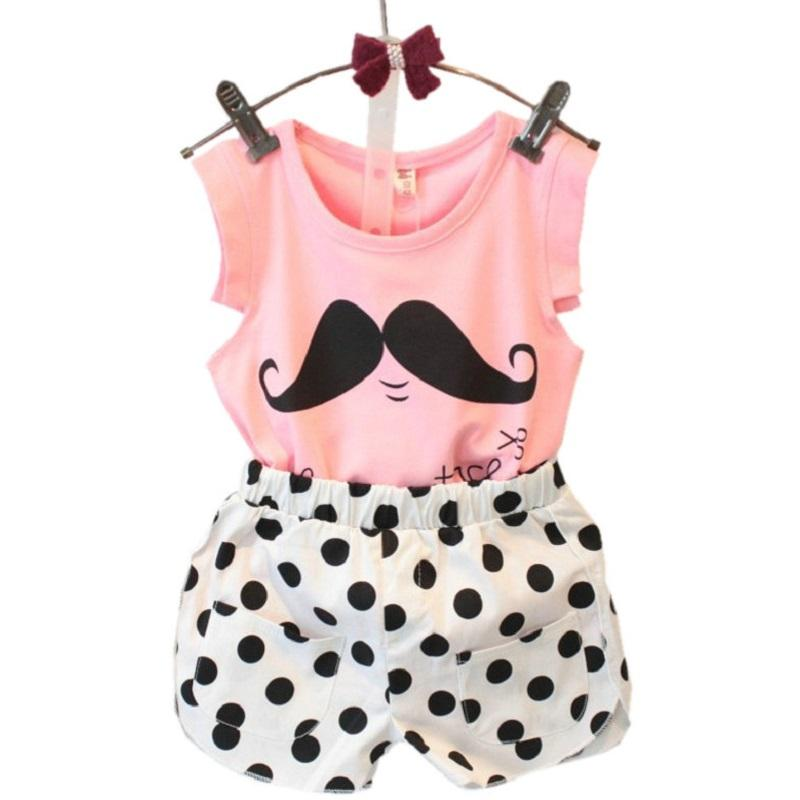 Wholesale- 2017 Summer Tsaujia  Baby Girls Clothing Set Sleeveless T-shirt+Polka Dot Pant 2pcs Kids Cotton Clothes Set 2-8 Years KF064