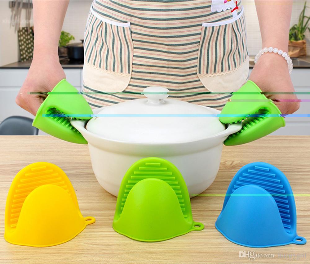 Silicone Pot Holder Oven Mitt Set Cooking Pinch Grips Kitchen Heat Resist UK