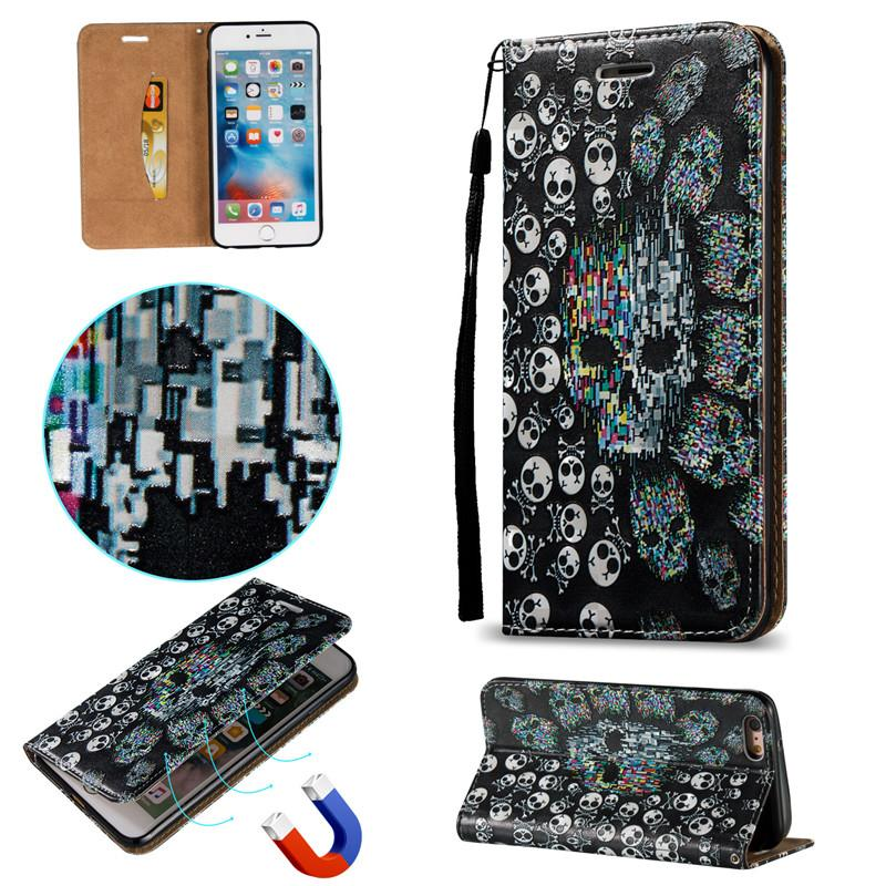 Case For iPhone 5S 5G 5SE 6S 6G 4.7 6 7 8 Plus Skull Shell 3D Magnetic Closure Skin PU Leather Stand Wallet with Card Slots Rope Cover