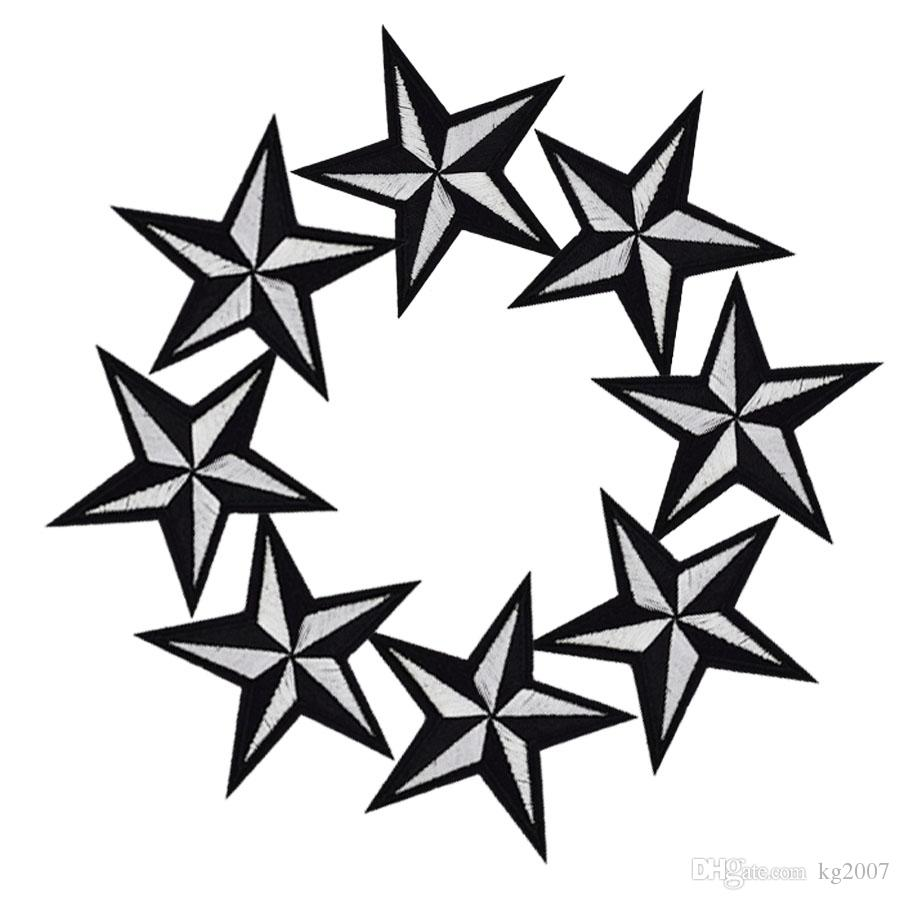 Diy stars patches for clothing iron embroidered patch applique iron on patches sewing accessories badge stickers on clothes bag DZ-036