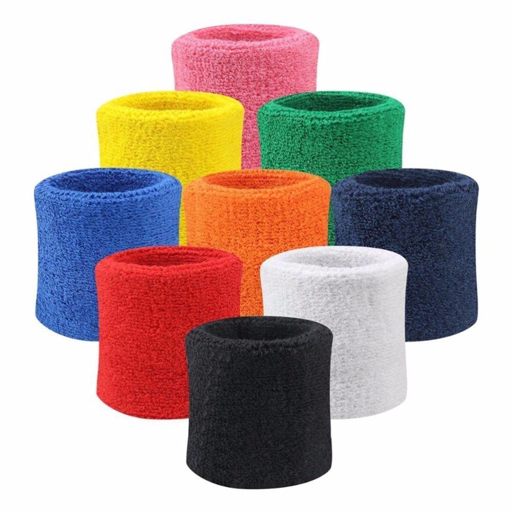 Atacado- 1 suporte de fibra de algodão Par Sports Wrist Brace Enrole Sweatbands Pulseira Tennis Squash Badminton Gym Football suave pulso Bandas