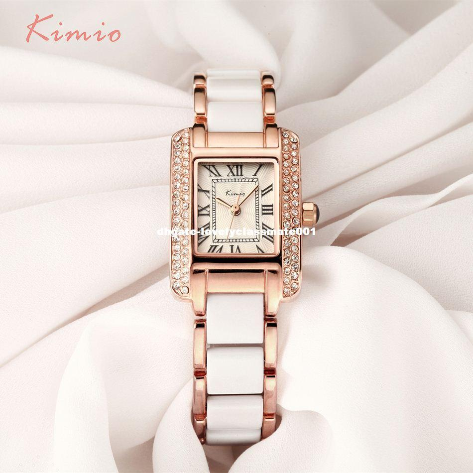KIMIO Retro Roman Rectangle Rhinestone Simulation Bracciale in ceramica da donna Orologi Top Luxury Luxury Rose Gold Womens Watches Vendita