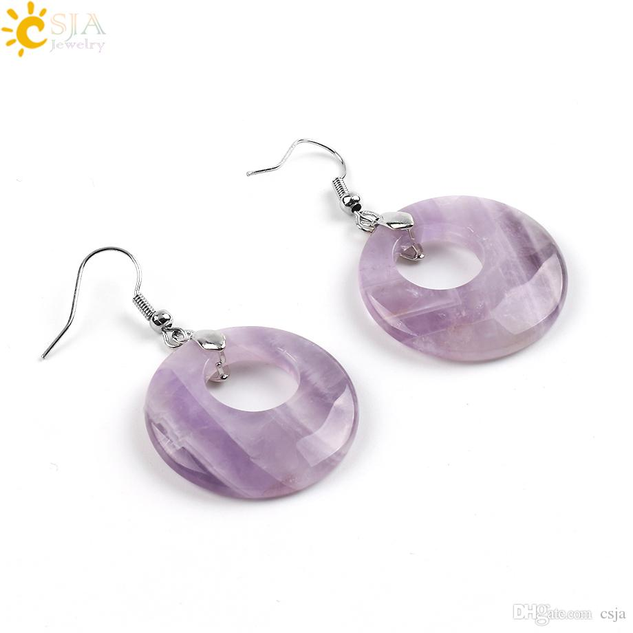 CSJA 2017 Spring New Collection Ethnic Real Natural Gemstone Women Jewelry Gift Earrings Hollow Round Drop Pendant Dangle Earring E499 A