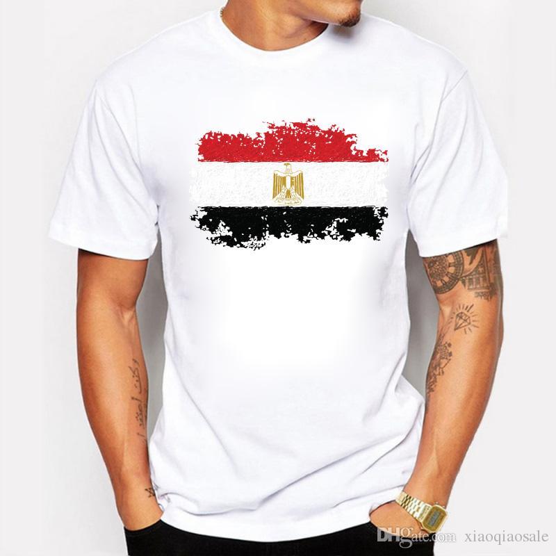 Hombres camiseta de verano civilizaciones antiguas nación egipto bandera estilo nostálgico camiseta fitness ocio masculino corto algodón camiseta