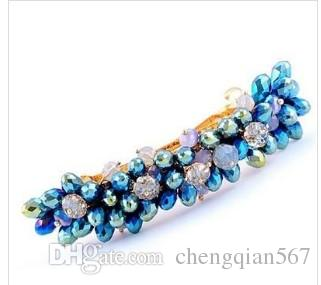 blue crystal tring lady's hairpin (9.5*2.5cm) (400-cn)