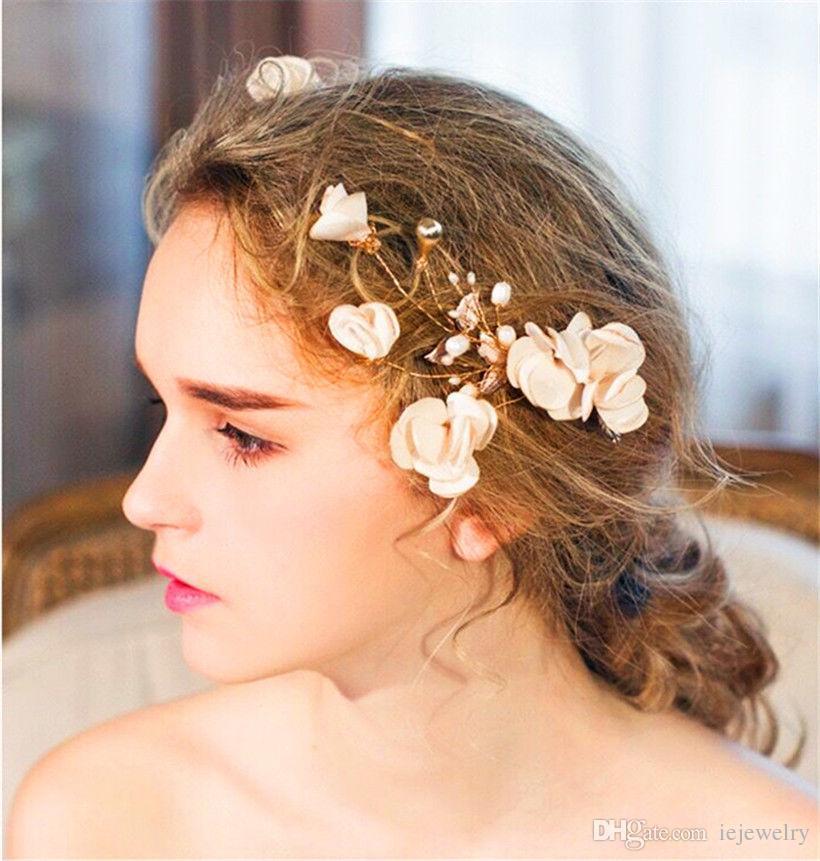 Свадебный клип Свадебный Ivory цветок аксессуары для волос головной убор Корона Тиара Пром невесты головной убор ювелирных Head Pieces Оптовая
