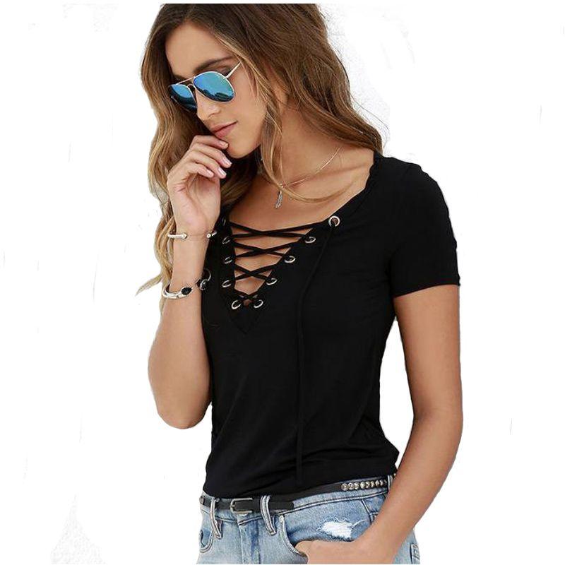 Toptan-Casual Kısa Kollu Criss Tali Taşıyıcı Seksi Derin V Yaka Hollow Çıkan Kadınlar Tişört Yaz Sonbahar Yeni Kadın Camisetas Artı Boyutu Tops