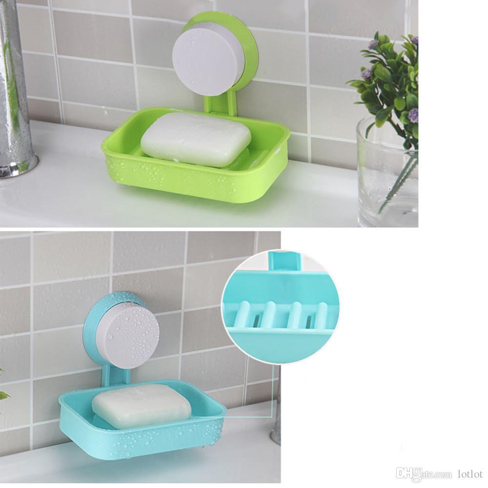 plastic suction cup holder bathroom shower soap dish home hotel travel soap dish tray wall holder