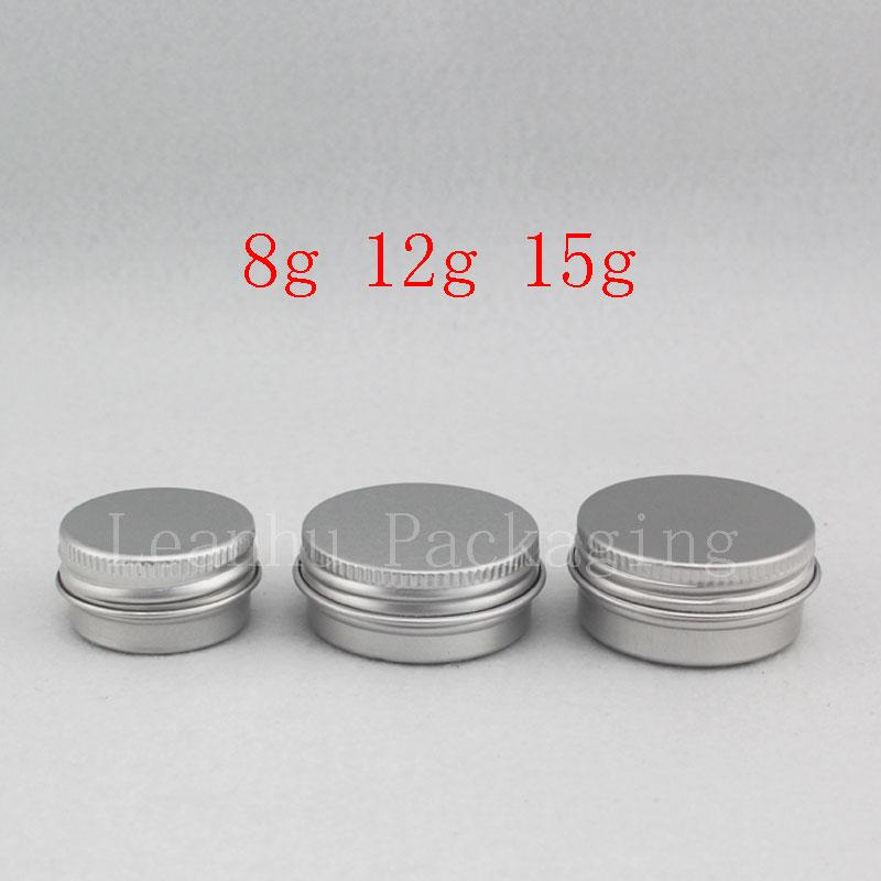 8G 12G 15G Kleine runde leere Balsam Aluminiumtopf Mini Reisegröße Metall Kosmetische Creme Glas Probe Hautpflege Creme Flaschenbehälter