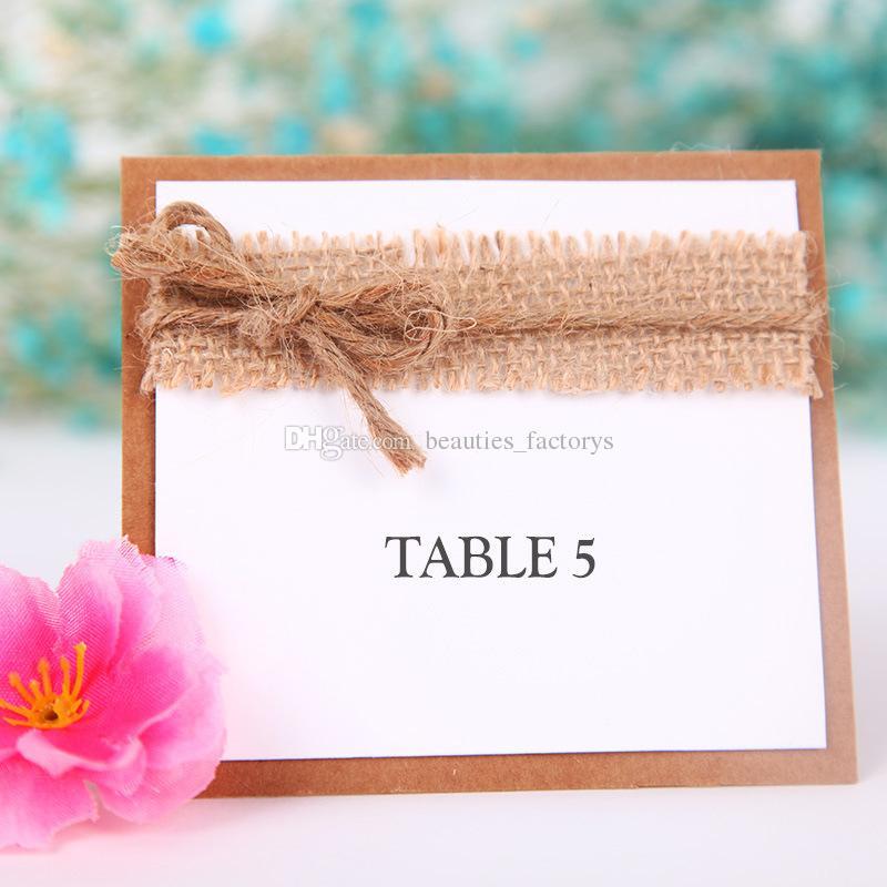 레트로 테이블 이름 장소 카드 리넨 레이스 웨딩 파티 부탁 DecorBirthday 파티 센터 피스 액세서리 베이비 샤워