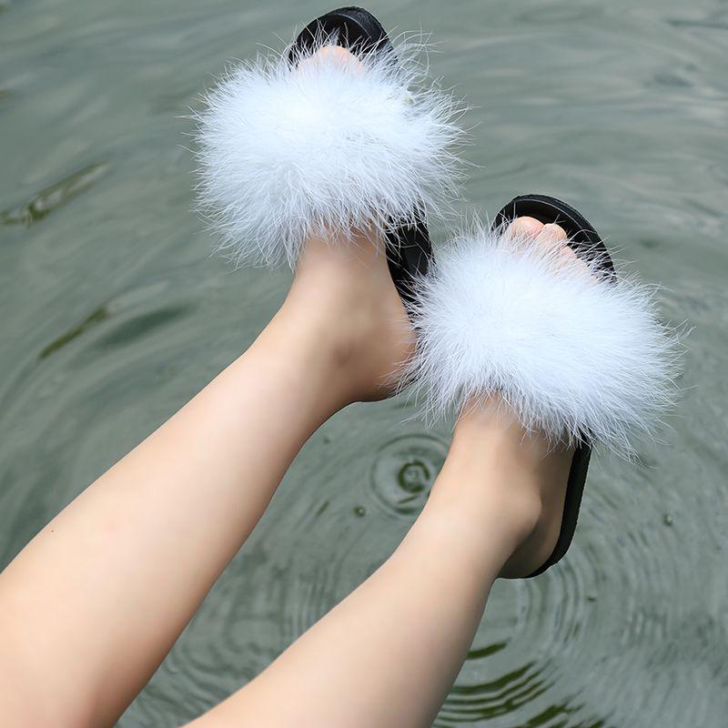 Fur Furry Slide Ostrich Feather Thick Beach Female Sandals Flops Women Slippers