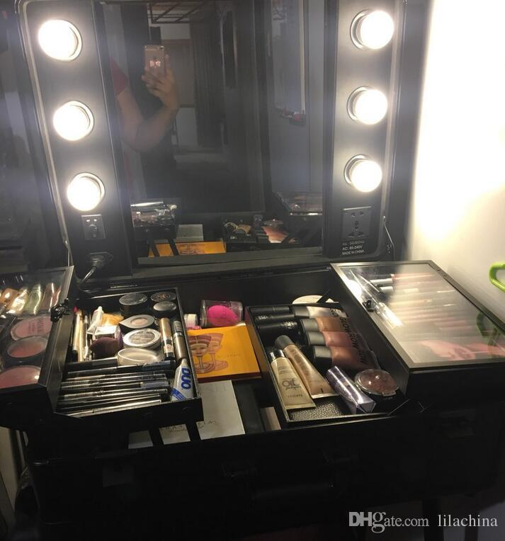 Rolling Studio Makeup Artist Cosmetic Case w/ 6x 40W Light Bulb Adjustable Leg Mirror Cosmetic Black Train Table