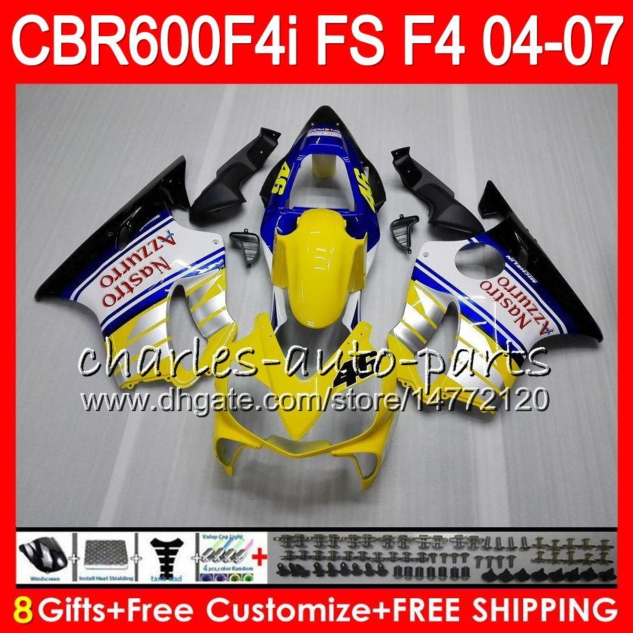 8Gift 23Color For HONDA CBR 600 F4i CBR600F4i 04 05 06 07 AAHM14 Yellow white CBR600FS FS CBR600 F4i CBR 600F4i 2004 2005 2006 2007 Fairing