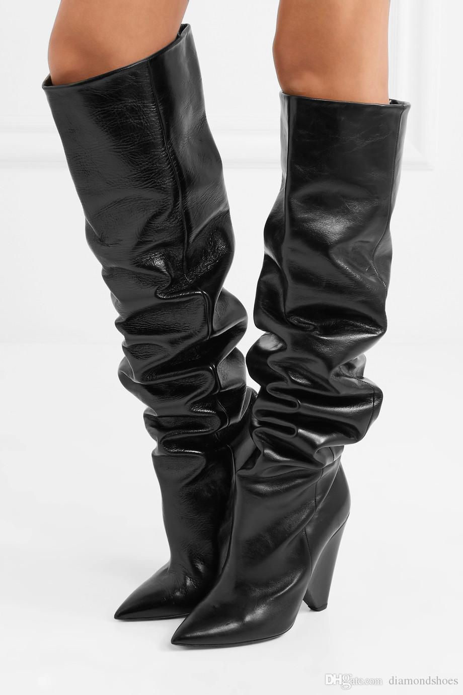 2017 donne di moda in pelle nera di avvio al ginocchio scarpe alte stivaletti punto di tep picco stivali tacco partito delle donne scivolano sulla mujer Botas