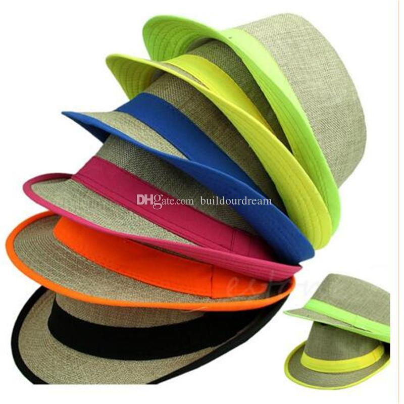 Wholesale-Free Shipping Hot Fashion Unisex Summer Beach Sun Straw Casual Jazz Dance Hat Trilby Linen Cap a69-a75