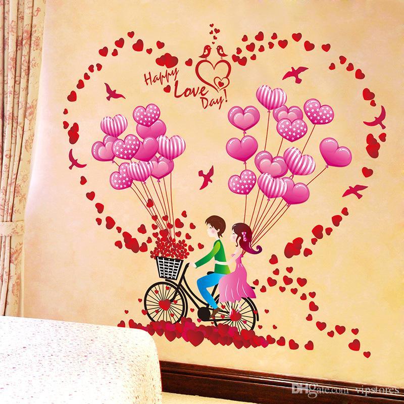 Romantic bike balloon wall sticker decals couples home decor wall ...