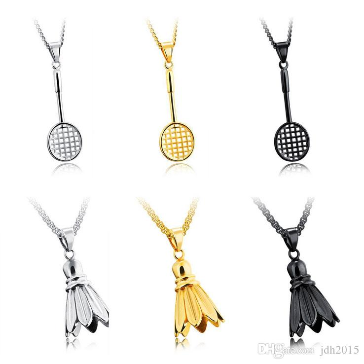 Couple Lover's Fitness Sport Pendant Necklace Battledore and Shuttlecock Charm Pendant For Female Or Male
