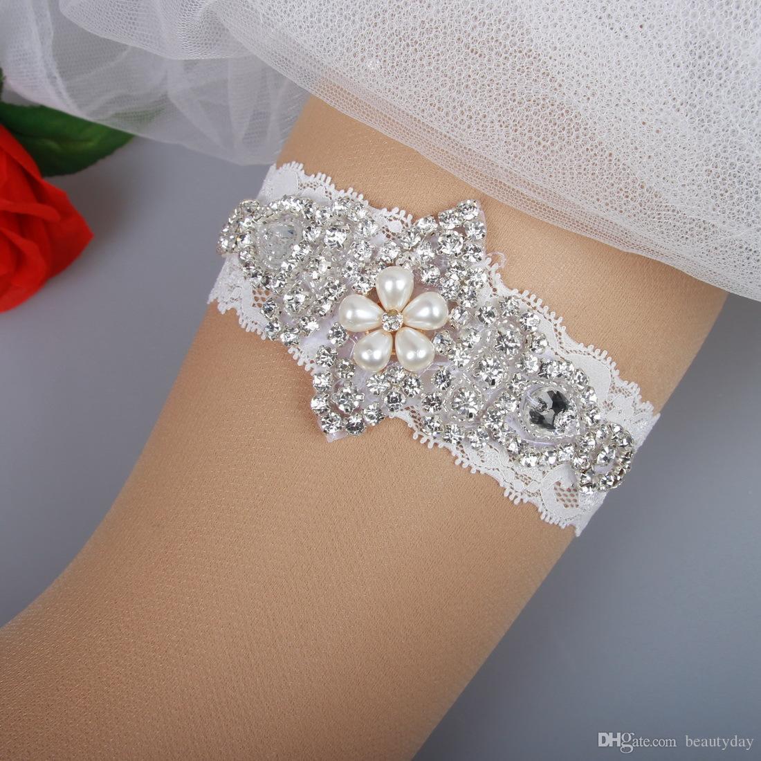 Bridal Garters Lace Rhinestones Pearls Beads Vintage Prom