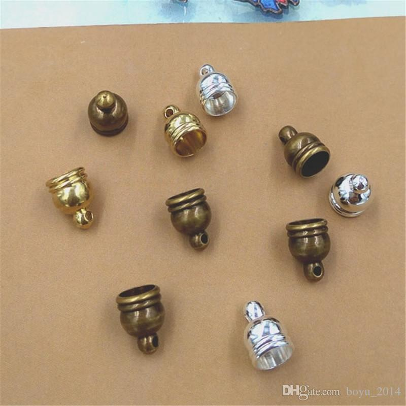 100pcs/lot Size 5mm Hole Original Brass/Bronze/Silver Plated Rope End Caps Vintage Crimp Beads Covers DIY Clasps