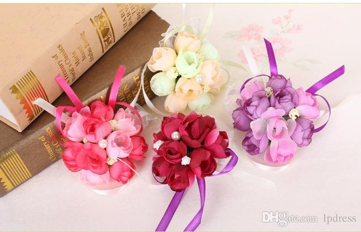 2017 Lovely Wrist Flowers Wedding Accessories New Arrival Fuchsia,Champagne,Wine,Purple wrist corsage 4 pieces/set Cheap Free Shipping