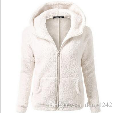 Frauen Winter Warm Kapuzen Fleece Parka Jacke Mantel Damen Tops Mantel Outwear