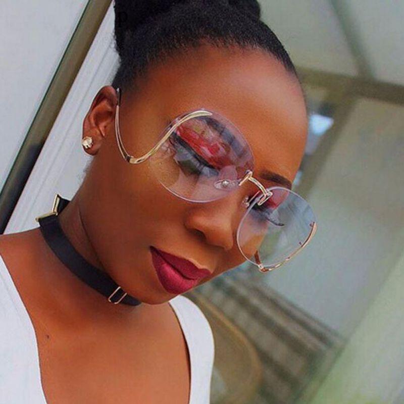 Moda Vintage Round senza montatura Occhiali da sole oversize Donne Designer di marca Occhiali da sole Montatura in metallo Sfumature sfumate sfumate UV400 A190