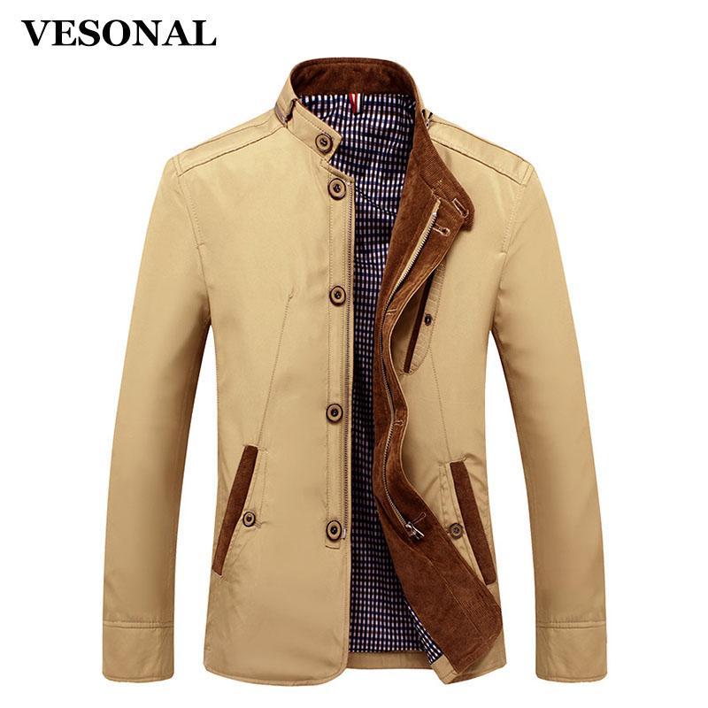 الجملة- vesonal ربيع الخريف البوليستر يتأهل رقيقة الوقوف زر الذكور عارضة سترة الرجال قصيرة واقية سترات معطف أزرق كاكي 4xl