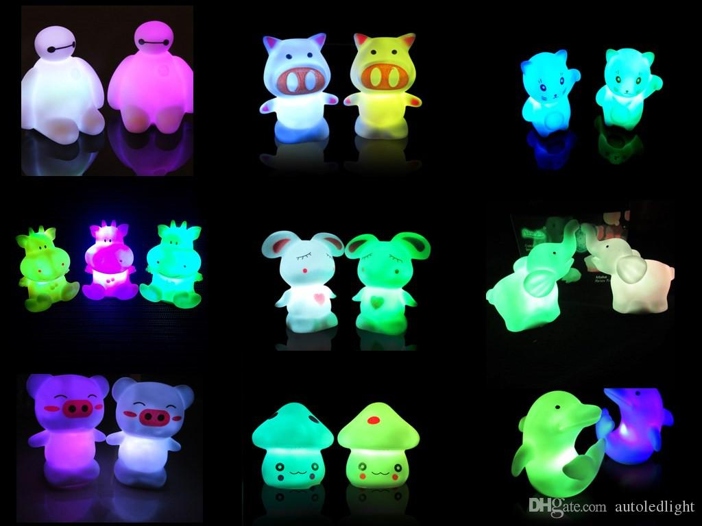 7 Color Change led small night novelty Light Colorful animal lovely Nightlight Cute Small LED Night Light for Christmas Gift