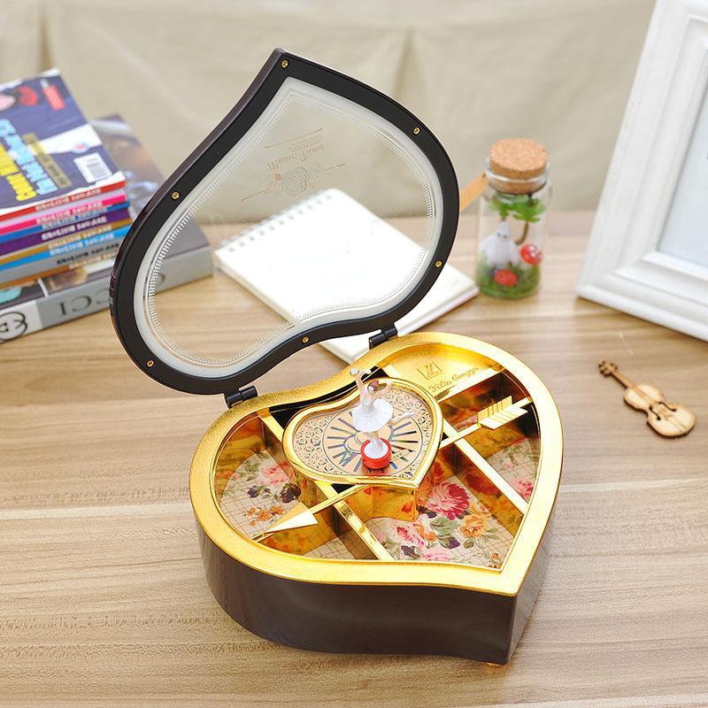 Rotation fille coeur boîte à musique Creative clockwork boîte à musique en plastique En plastique bureau articles de meubles couple cadeaux