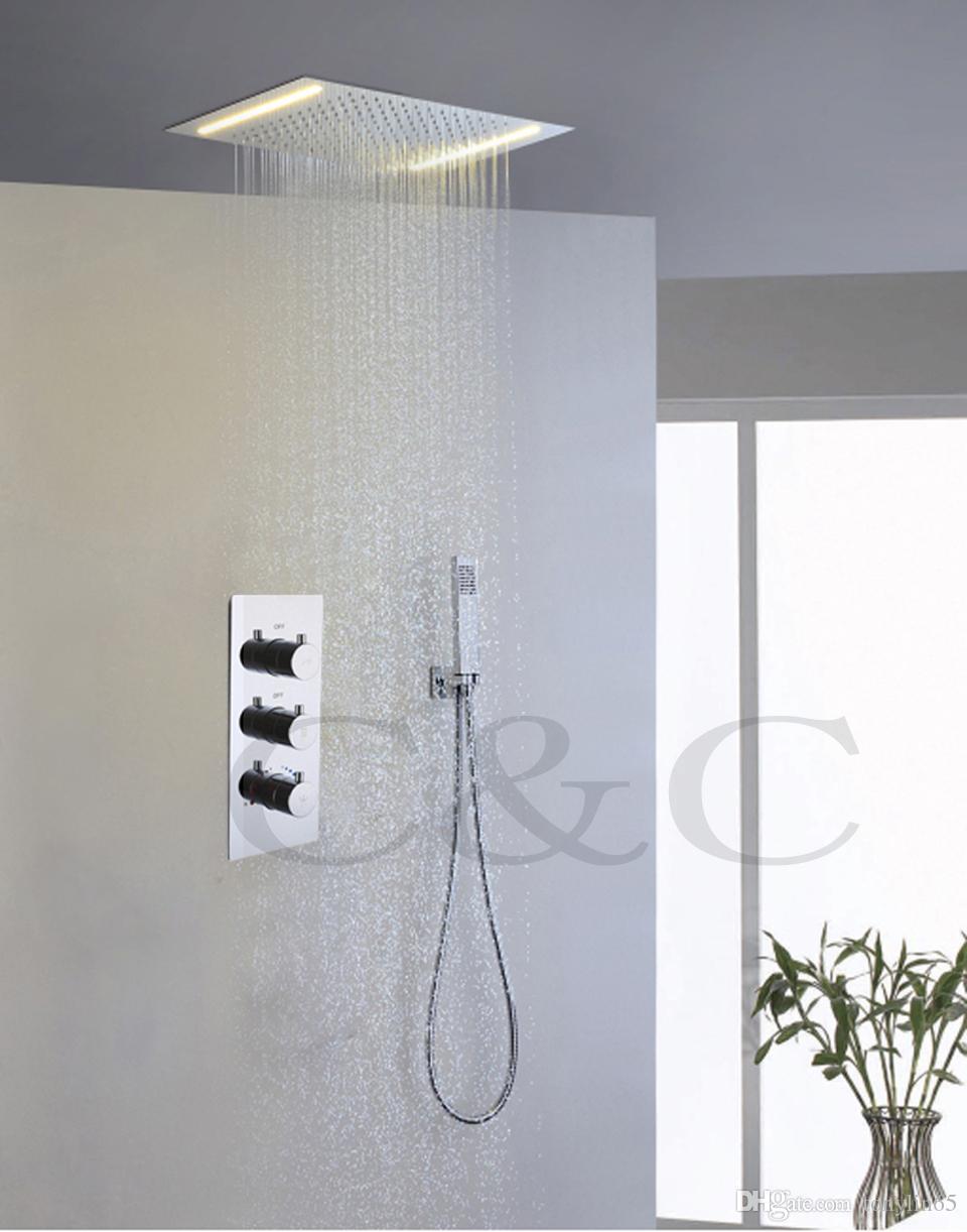 110V ~ 220V 교류 옐로우 램프 LED 샤워 헤드 대형 워터 플로우 믹서 밸브 강수량 욕실 샤워 꼭지 세트 008P-50X36E-F