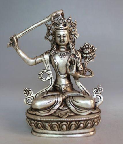 Tibet Budizm İŞI Gümüş Manjushri Bodhisattva Buda Heykeli