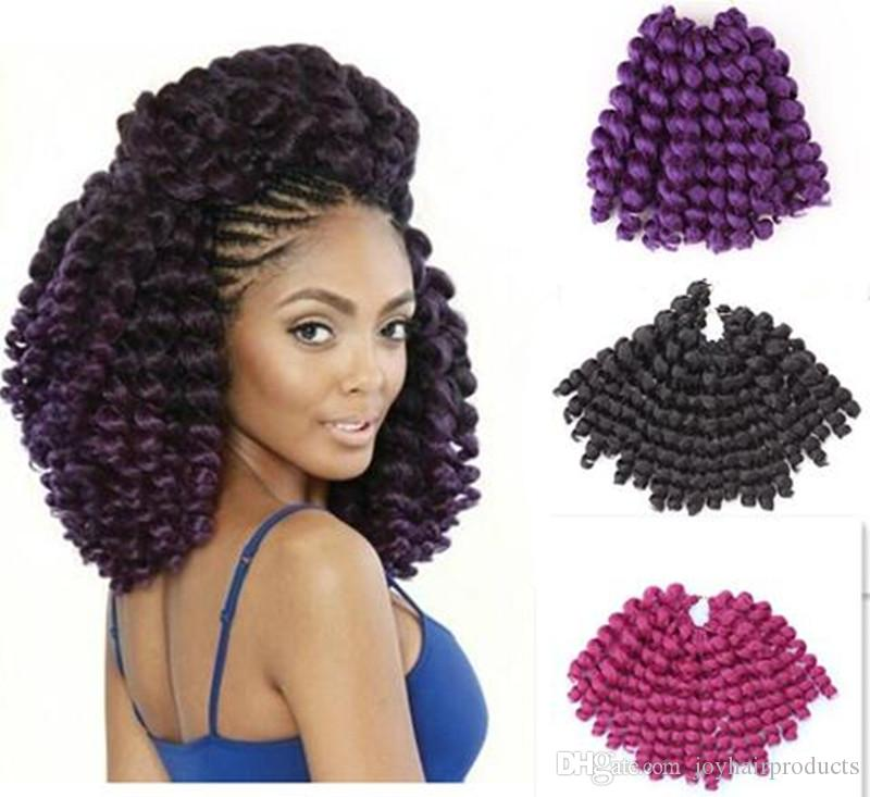 Free Shipping Jumpy Wand Curl Twist Janet Crochet Braids Marley Bounce 8-10 inch Twist Braid Kanekalon Synthetic Hair Extension