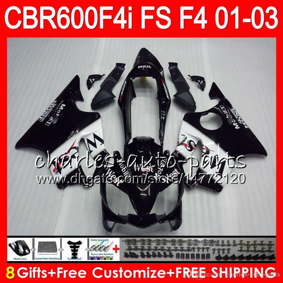8ギフト23彩色ホンダCBR 600 F4I 01-03 CBR600FS FS 28HM4 CBR600 F4I 2001 2002 2003 2003トップブラックウエストCBR 600F4I CBR600F4I 01 02 03フェアリング