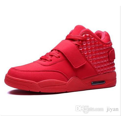 Новый 2017 мода мужчины спортивная обувь высокого топ повседневная Красный замша кожаные сапоги мужчины тренеры дышащий британский стиль корзина Femme кроссовки