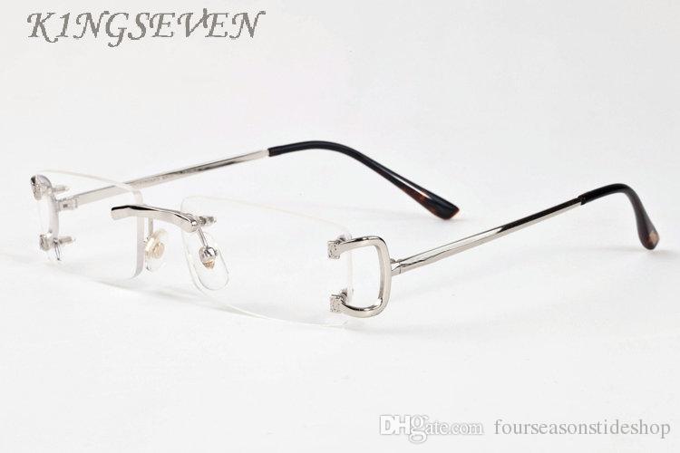 2020 أزياء شعبية النظارات الشمسية الرياضية بدون شفة النظارات واضح الرجال النظارات نظارات الذهب الفضة الإطار المعدني قرن الجاموس مع مربع وحالة