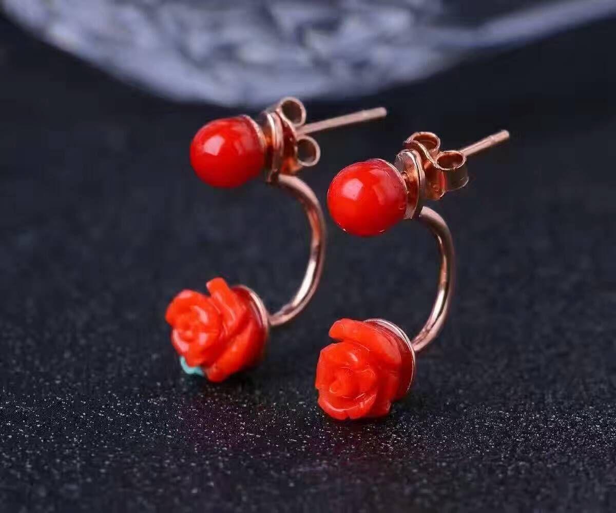 Femme,rouge corail en forme de fleur,boucle d/'oreille