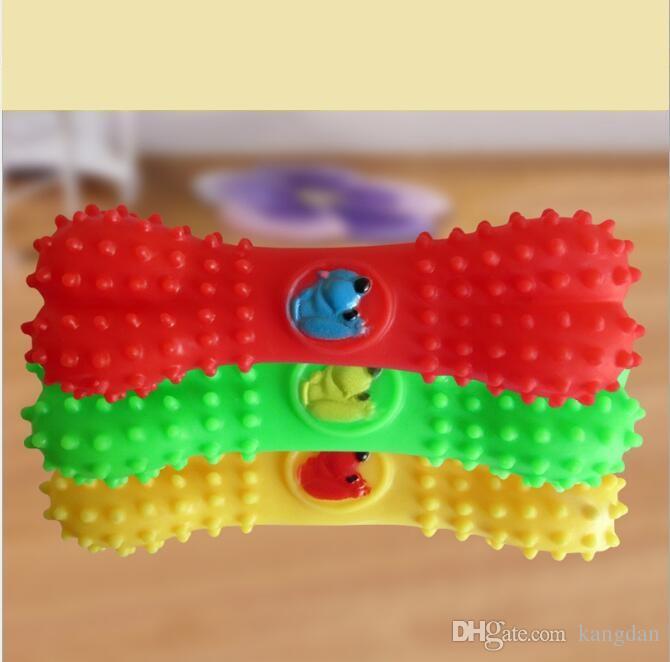 Mordida de borracha não-tóxico macio Pet Brinquedos Cão Gato Osso Forma Mastiga Brinquedo Som interativa dog bone squeaky dog toys