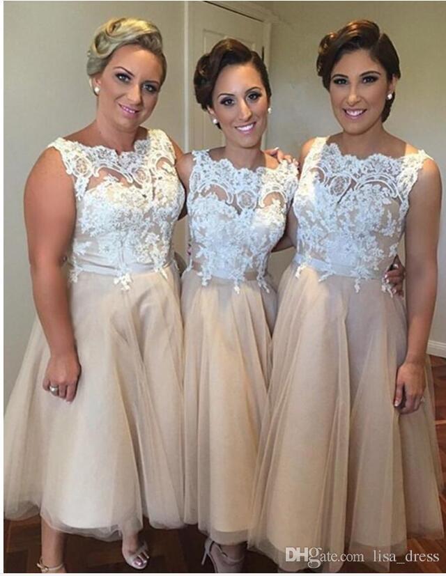 Verão Branco Lace Curto Da Dama de Honra Vestidos 2017 Barato Sexy Chá Comprimento Champanhe Tule Formal Prom Party Vestidos Plus Size Vestidos de Noiva
