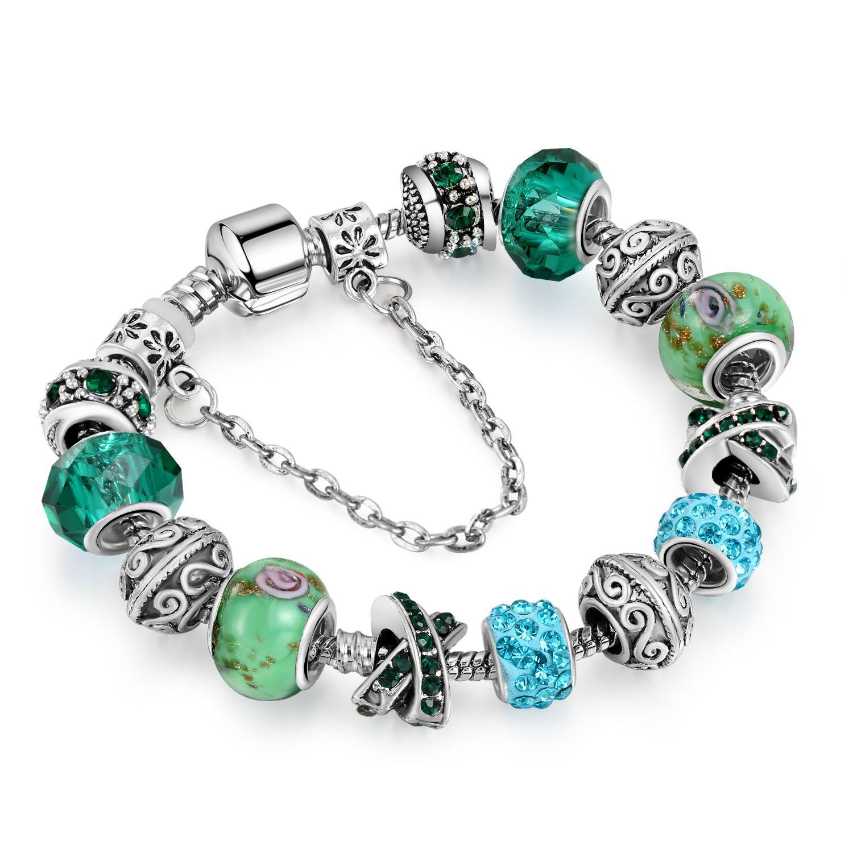 DIY Crystal Beads Bracelets Bangles Silver Plated Charm Bracelets for Women Original DIY Jewelry Gift AA162