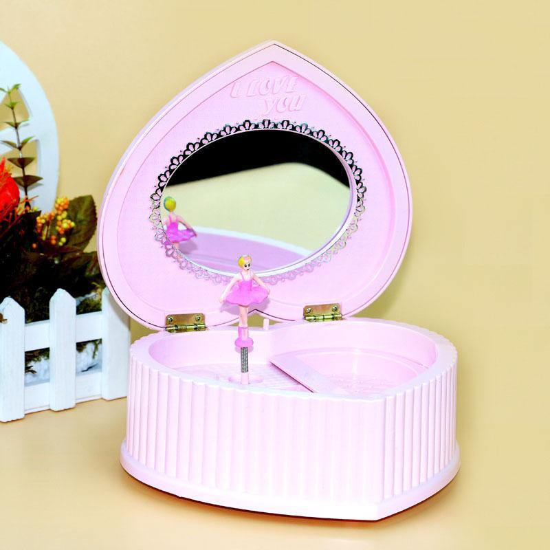 Creative boîte à musique musique cassette ballet fille en forme de coeur miroir vacances cadeau Jiapin boîte à bijoux