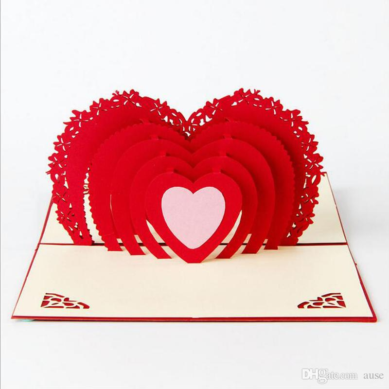 3D Greeting Cards Thank You Card Handmade Pop Up Heart Shape Paper Cut Valentines Mother's Day Christmas Gift Card With Envelope
