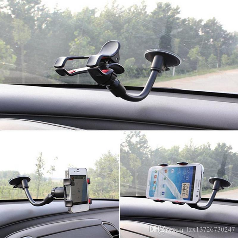 Evrensel Arabalar Cam Cep Telefonu Dağı Braketi Tutucu Standı iphone 5 6 7 Samsung S7 S6 Kenar Perakende Paketi