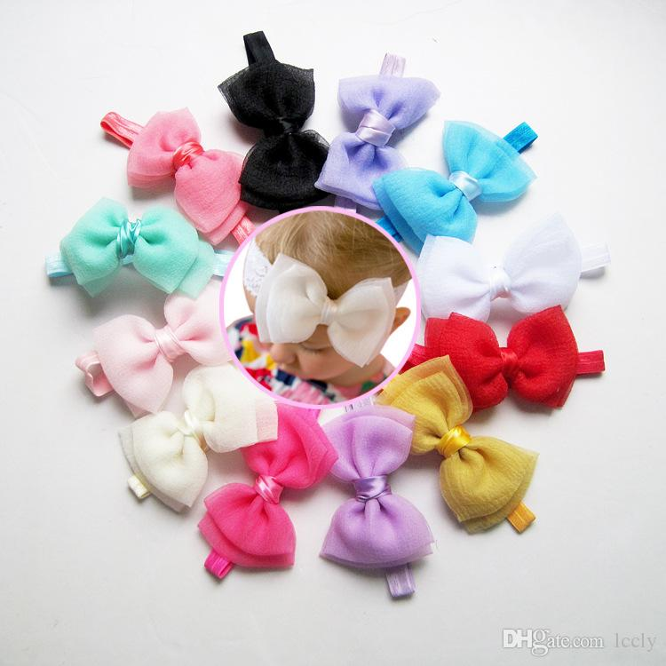 Sweet Kid Girl Chiffon Bows Headbands Infant Baby Hairband Headwear Candy Color For Baby Hair Accessories 12 Color 12 pcs
