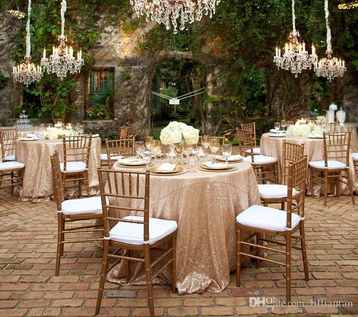 Şampanya Altın Sequins Yuvarlak Masa Örtüsü Bahçe Düğün Parti Ev Süslemeleri için Gümüş Glitter Kumaş Payetli Masa Örtüsü Noel Kapak