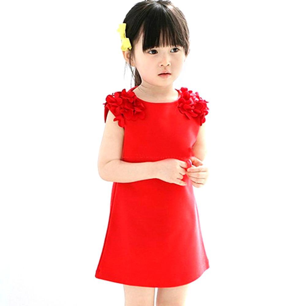Yaz Bebek Çocuk 1 Yıl Kız Çiçek Kolsuz Prenses Mini Elbise Parti Elbiseler Elbise Kırmızı Pembe Katı Vestido