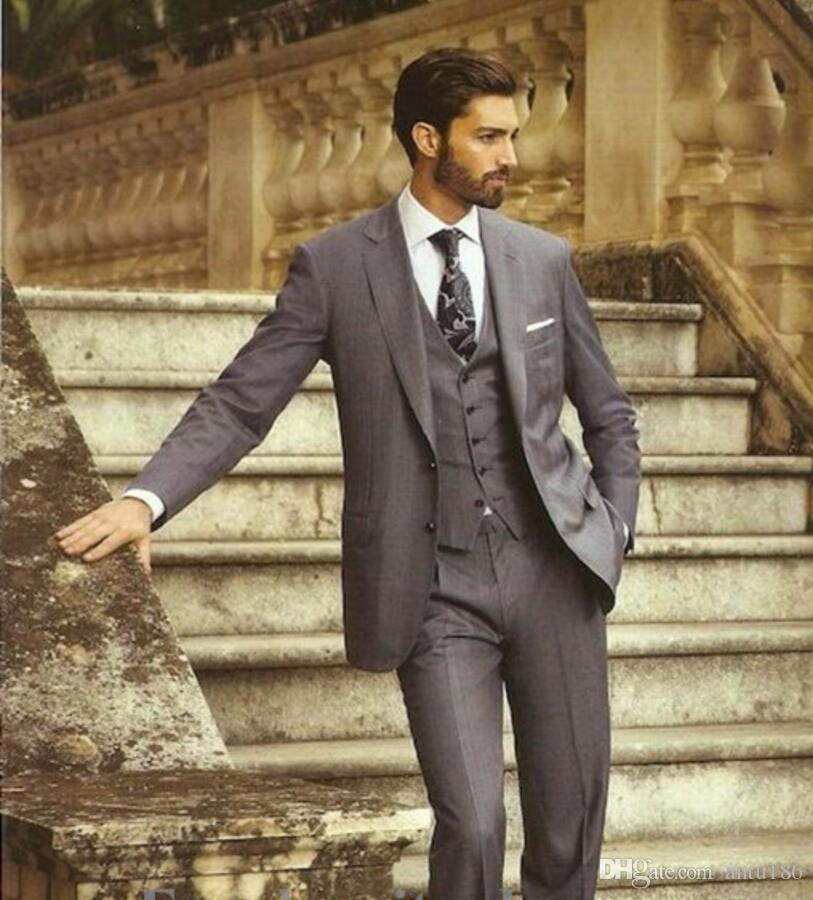 Yeni Koyu Gri Damat Smokin Takım Elbise Ofis Takım Elbise Fit Slim Örgün Parti Akşam Sağdıç Erkekler Suits (Ceket + Pantolon + yelek)